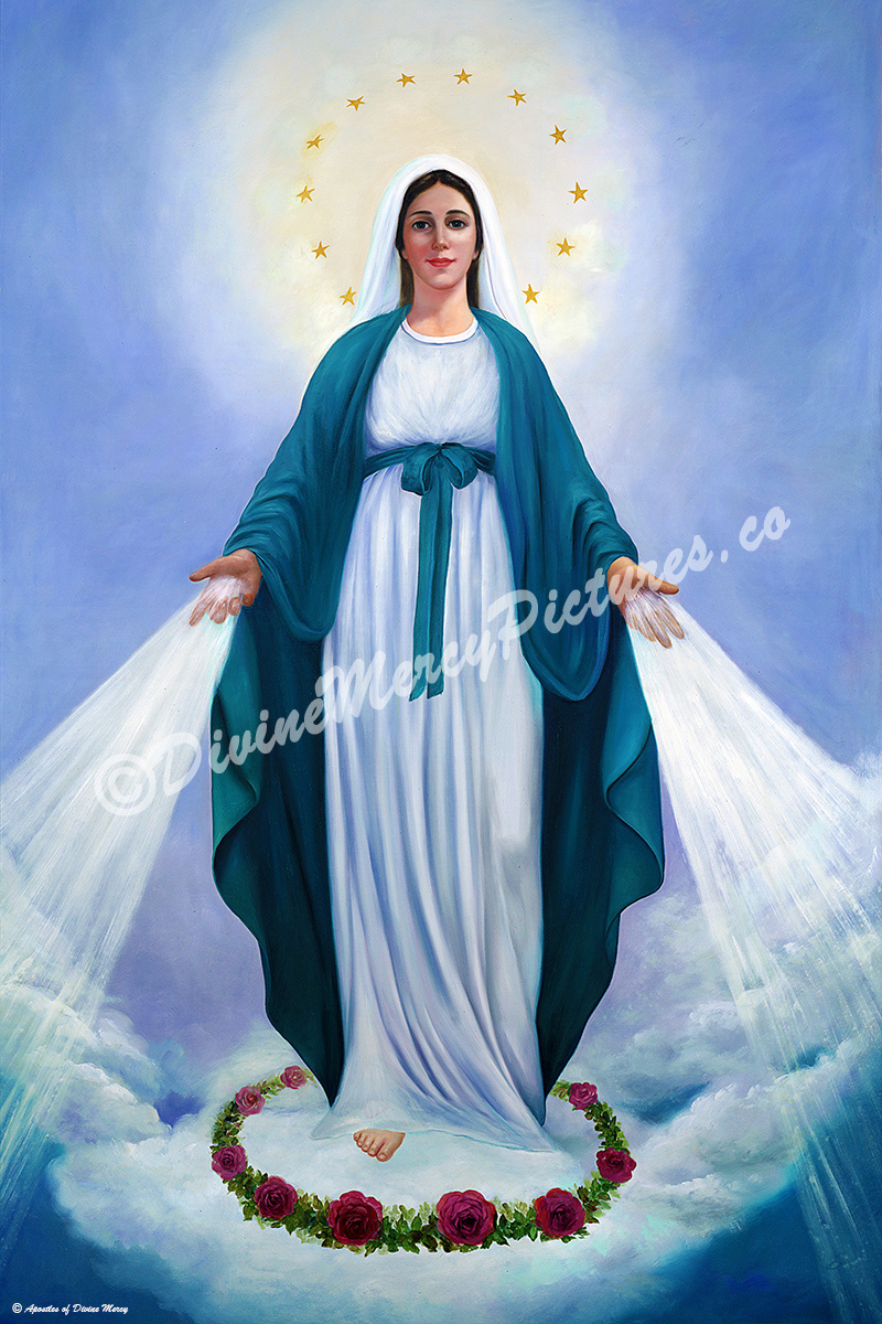 32 by 48 rolled paper our lady of divine mercy image